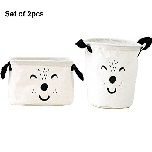 Inwagui Stoff Aufbewahrungsbox aus Baumwolle 2 Stück Aufbewahrungsbox, Aufbewahrungskorb aus Stoff Für Badezimmer Haushalt-Weiß (Dia-box Organizer)