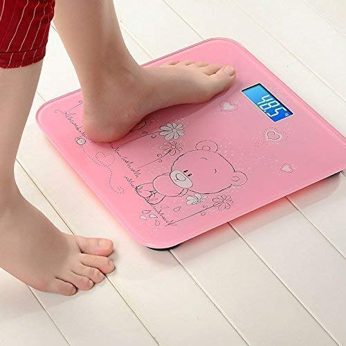 NEEJAN Glass Top Weighing Machine for Human Body Weight Electronic Digital Scale (Size-11 x 11 Inch, Pink Colour)