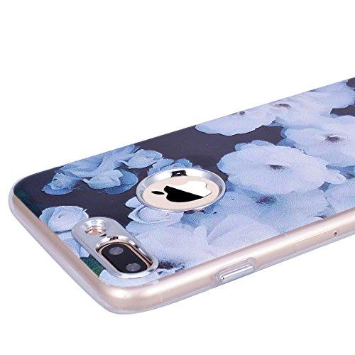 GrandEver iPhone 7 Plus Hülle Weiche Silikon Handyhülle TPU Bumper Schutzhülle für iPhone 7 Plus Rückschale Klar Handytasche Anti-Kratzer Stoßdämpfung Ultra Slim Rückseite Silicon Backcover Soft Case  Weiß Blume