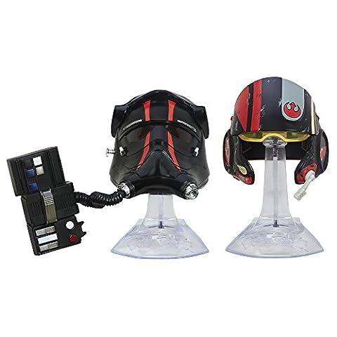 Star Wars Titanium Serie Helmcollection TIE Fighter Pilot und Poe Dameron Helme mit Aufsteller