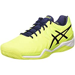Asics GEL-Resolution 7 Clay, Zapatillas de Tenis Hombre, Multicolore (Safety Yellow/Indigo Blue/White), 44.5 EU