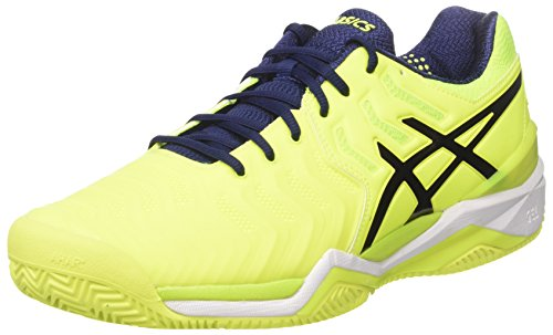 Green Clay Tennis (Asics Herren Gel-Resolution 7 Clay Tennisschuhe, Multicolore (Safety Yellow/Indigo Blue/White), 47 EU)