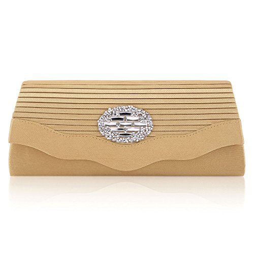 Damara® Damen Satin Crystal Abendtaschen Mit Wellenförmige Borte Gold