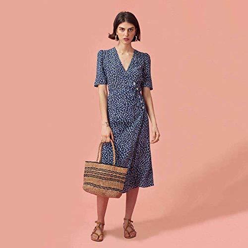 ZSRHH-Kleid Frauenkleid Kurzärmliger Wickelrock mit V-Ausschnitt Einteiliges Wickelkleid mit Knöpfen Französischer Teepausenrock (Farbe : Blue, Size : M) -
