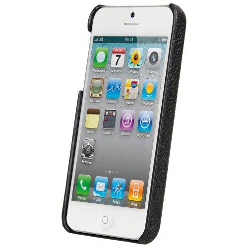 Melkco Leder Case für Apple iPhone 5 schwarz Schwarz Snap