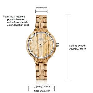 GREENTREEN Relojes de cuarzo natural madera caso reloj de mujer con pulsera de madera sólida de oro rosa cara marrón de Amexicollection