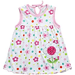 QUICKLYLY Ropa Bebe Recien Nacido Niña Verano de 0 a 3 Meses Sin mangas Vestidos Primavera (A)