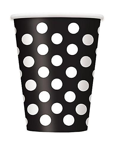 Unique Party - 37456 - Paquet de 6 Gobelets - Carton à Pois - 355 ml - Noir
