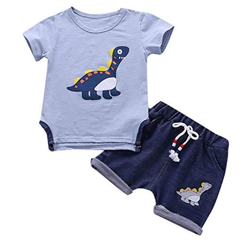 Männlich Baby Kinderkleidung Fett Dinosaurier Druck Kurzarm Kinder Baumwoll-T-Shirt + Jeans-Shorts zweiteilig (0,5-3 Jahre alt)(Hellblau, 110/XL)