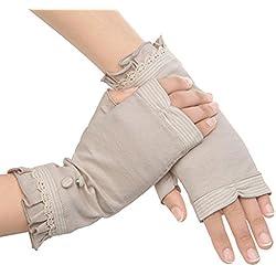 jysport verano mujeres sol UV protección al aire libre guantes de rayas 100% encaje de algodón guantes de conducción mitones, 36, 58*68cm