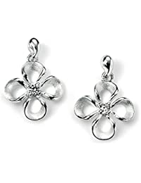 elements: small flower-earrings with cubic zirconia, Sterling-Silver 925