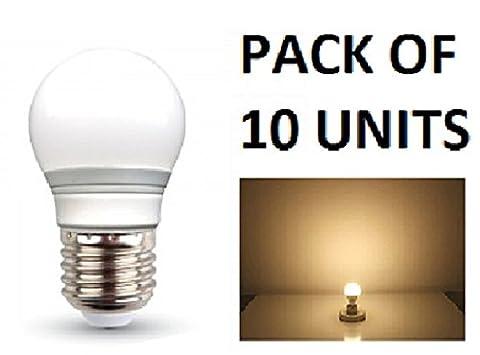V-TAC LED 3W G45Golf Ball Leuchtmittel–10Stück–E27/ES/Standard Edison Schraube Gap–Warm Weiß 2700K/250Lumen/Kunststoff-Finish/entspricht 25W Glühlampe/20.000Stunden durchschnittliche Lebensdauer/nicht dimmbar/220–240V–180Grad Abstrahlwinkel/50Hz/SKU: 7202X 10
