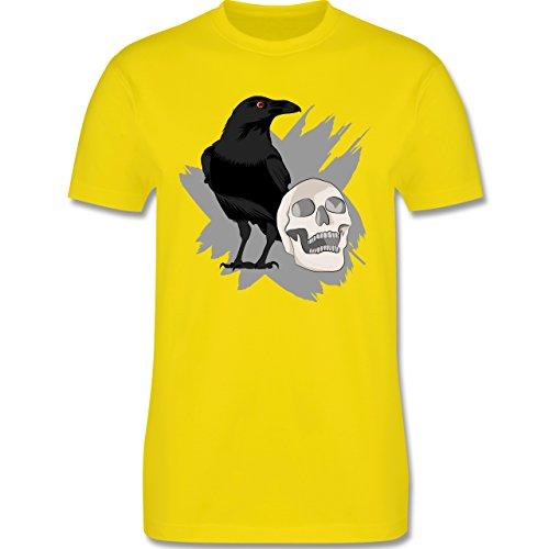 Halloween - Rabe auf Totenkopf - M - Lemon Gelb - L190 - Herren T-Shirt Rundhals