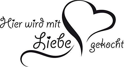 GRAZDesign Wandsticker Küche Hier Wird mit Liebe gekocht - Wanddeko Küche Esszimmer Herz - Wandtattoo Küche Sprüche / 92x50cm / 070 schwarz