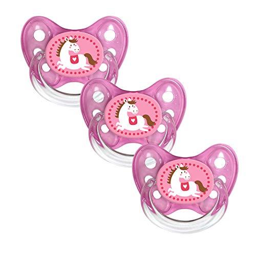 Dentistar® Silikon Schnuller 3er Set - Nuckel Größe 1, 0-6 Monate, zahnfreundlich und kiefergerecht | Pferd pink