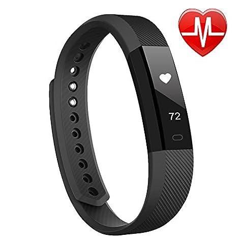 Lintelek Smart Fitness Uhr IP67 Wasserdicht Bluetooth 4.0 Activity Tracker Gesundheits-Schlaf-Monitor Pedometer Herzfrequenz-Monitor mit Call / SMS Erinnerung für Android und