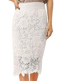Falda Recta con Encaje Blanco Mujer Faldas Altas De Cintura Falda Huecos Faldas  Largas Elegantes Falda 0e3ae94e4ee1