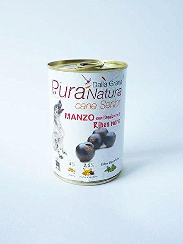 Pura Natura cibo umido per cani senior manzo ribes nero 10 lattine da 400 gr