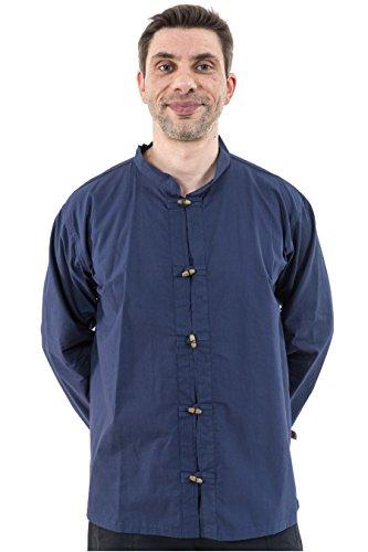 - Chemise ethnique kung fu col mao navy blue coton doux - Bleu