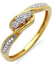 0.25 Carat (ctw) 18 ct Yellow Gold Round Diamond Ladies 3 Stone Engagement Promise Ring 1/4 CT
