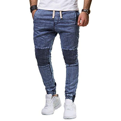 Freeside Herren Jeans Biker Hose Denim Slim Fit Gerippt Cuffed Jogger Dunkel Blau Flora Okmaa Blau