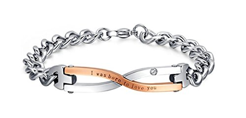 Beydodo Edelstahl Armband (Gliederarmband) Für Paare Bangle CZ Ich Wurde Geboren, Um Dich Zu (Und Der Kostüm König Ich)