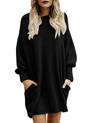 Minetom Femme Robe Pull Elégant Tricot Col Rond Manche Longue Mode Solide en Vrac Hiver Toison Mini Dress Chandail Robe Sweater Tunique Noir FR 44