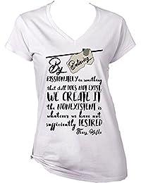Teesquare1st Women's FRANZ KAFKA BELIEVE PASSIONATELY White T-Shirt