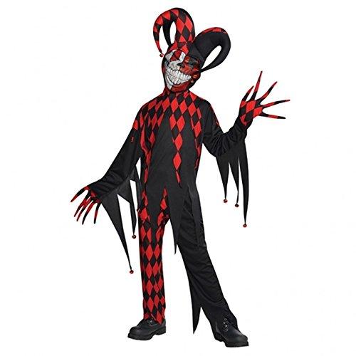 Teens Verrückt Gemacht Hofnarr Unheimlich Joker Clown Outfit Kinder Halloween Kostüm - Schwarz, 12-14 ()