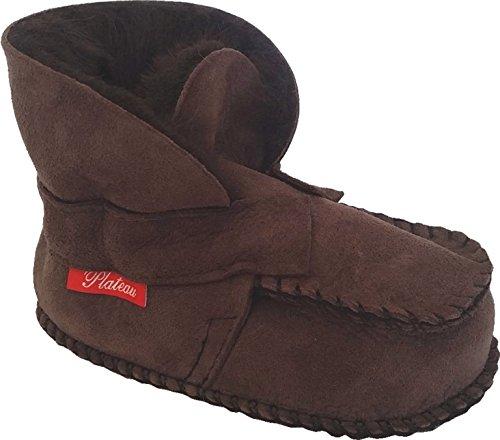 Plateau Tibet - Chaussons Chaussures bébé en cuir souple avec doublure en VERITABLE laine d'agneau bottines garçon fille enfant - HuggME - marron foncé 18 19