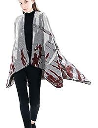 Hlhn Femme Châle Wrap Couverture Camouflage asymétrique Cape Hiver Taille  Plus décontracté Cardigan Manteau ... cfb254475d6
