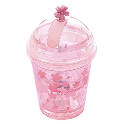 Brownrolly 300ml / 10oz Kirschblüten-Wasserflasche mit Deckel, Pink Tumbler Drink Cup mit Stroh für Mädchen Student Office Outdoor Sports Getränkemilch (Mit Mädchen Stroh Tumbler)