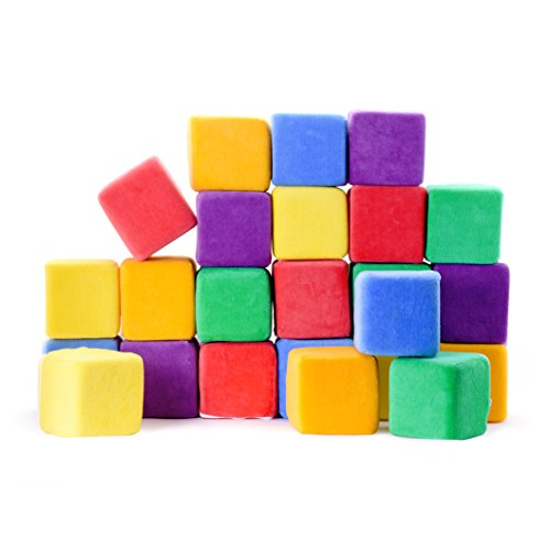 *Milliard – Softbausteine aus Schaumstoff – zum Stapeln, Sortieren und Bauen – Würfel mit abnehmbaren Bezügen und Tragetasche – 24 Stück – Jumbo-Größe – 10 cm*