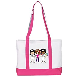 NCD Medical/Prestige Medical 705-NTP Large Canvas Tote Bag, Nurse Trio on Purple