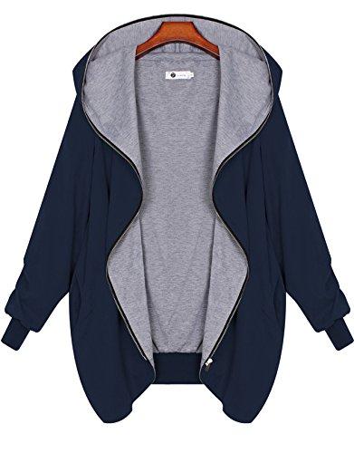 Zarlena Damen Full Zipper Jacke Hoodie Oversize Parka Kapuzenjacke Blau S