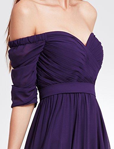 Ever Pretty Damen Abendkleid Ruched Bust Off Shoulder mit tiefem Ausschnitt lang Kleider Sommerkleid, geeignet für Cocktail, Hochzeit, Abendparty als auch Engagement,Homecoming Lila