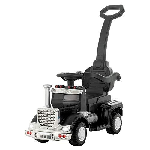 UEnjoy Kinderauto 6V Rutschauto Deluxe Rutschfarzeug mit Fuβpedal, Musik, LED Leuchten, Abnehmbarer Griff, Geländer für 1-4 Jahre Kinder,Schwarz