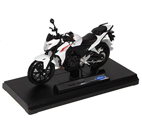 Preisvergleich Produktbild Honda CB500F Weiss Ab 2013 1/18 Welly Modell Motorrad mit individiuellem Wunschkennzeichen