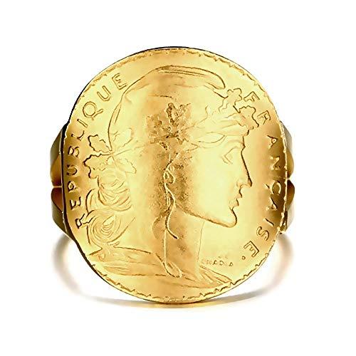 BOBIJOO Jewelry - Ring ausgestattete Münze 20 Francs Marianne Rooster goldene Stahl Mount Gabel - 20,1 (10 US), Vergoldet - Edelstahl 316