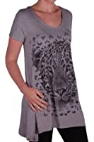 EyeCatch Plus - Ladies Graphic Tiger Long Draped Womens Sparkle Short Sleeve Stretch Top Sizes 14 - 28