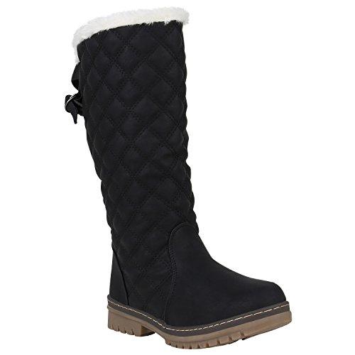 Damen Schlupfstiefel Warm Gefütterte Stiefel Gesteppte Schuhe 151672 Schwarz Carlet 38 Flandell - Gesteppte Stiefel