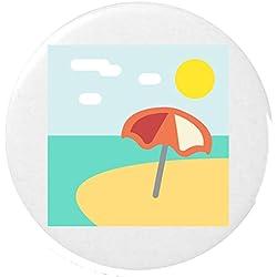 playa con sombrilla Emoji Botón 25mm / Beach With Umbrella Emoji 25mm Button Badge
