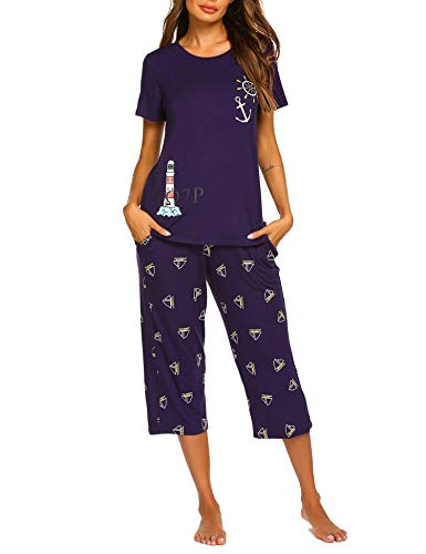 Balancora Damen Schlafanzug Kurz Sommer Pyjama Kurze Ärmel Pyjamahose Nachtwäsche Hausanzug Kurzarm Sleepwear S-XXL (Frauen-sommer-pyjama)