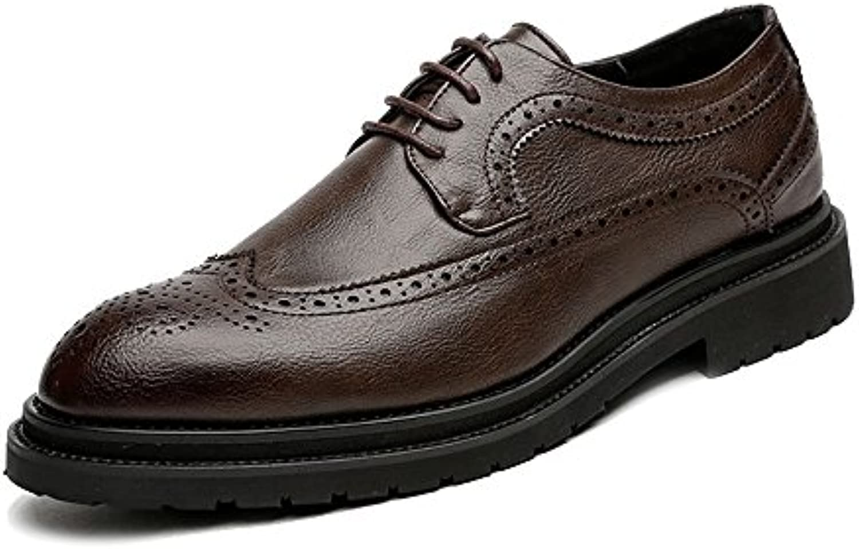 Ruanyi Leder Oxford Schuhe Männer  Business Brogue Schuhe PU Leder Oberen Schnürung Wingtip Dekoration AtmungsaktivRuanyi Schnürung Dekoration Atmungsaktiv Außensohle