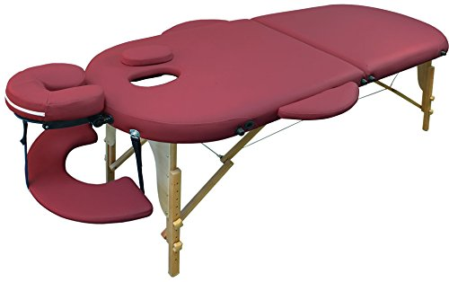 Reiki Massageliege/Massagebank, Oval - Rund, mit viel Zubehör, rot
