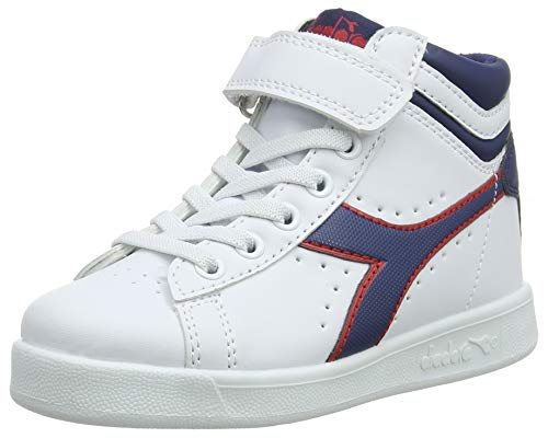 Diadora game p high ps, scarpe da ginnastica unisex-bambini, (white/estate blue/tomato c7628), 31.5 eu