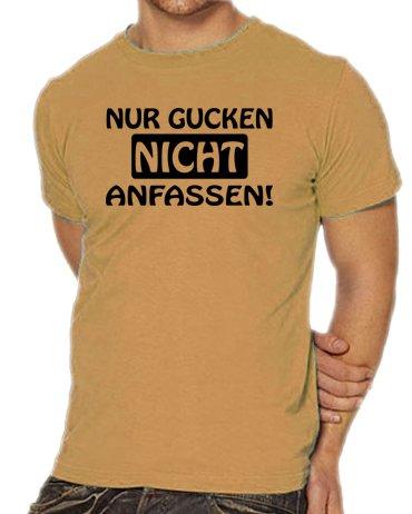 Touchlines Unisex/Herren T-Shirt Nur gucken - Nicht anfassen, sand, L, B1661