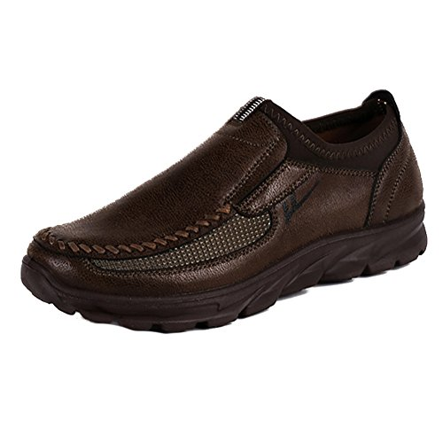 Hibote Mode Hommes Hiver Cuir Casual Chaussures Respirant Mocassins Antidérapants Gris/Brun/Camel Marron
