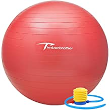 Timberbrother Pelota de Ejercicio / Bola de Gimnasia, 55 cm de Diámetro con Bomba para Yoga, Pilates, Ejercicio Físico y Terapia (Rojo)