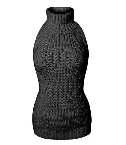 YUANMO Damen Pullover ärmellose Rückenfrei Turtleneck Open Back Sweater Backless Jumpsuit Strickpullover (Schwarzer Typ 1, One Size)